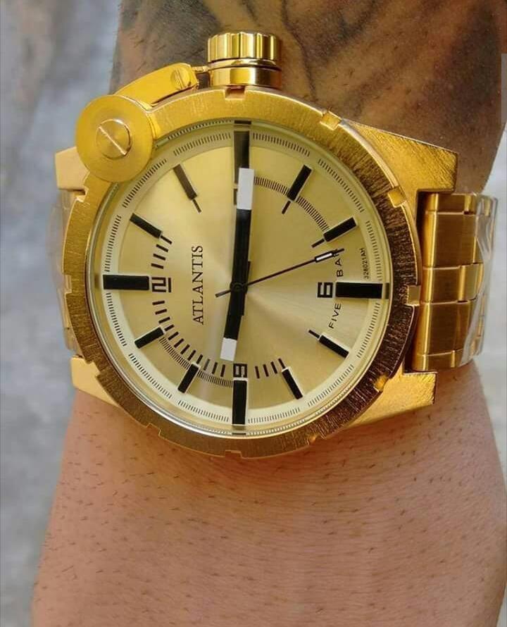 10041aea9e8 relógio dourado masculino marca atlantis original grande dsl. Carregando  zoom.