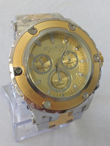relógio dourado masculino original atlantis j3358 style