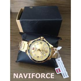 Relógio Dourado Naviforce Masculino 9106 Aço Gold - Dourado