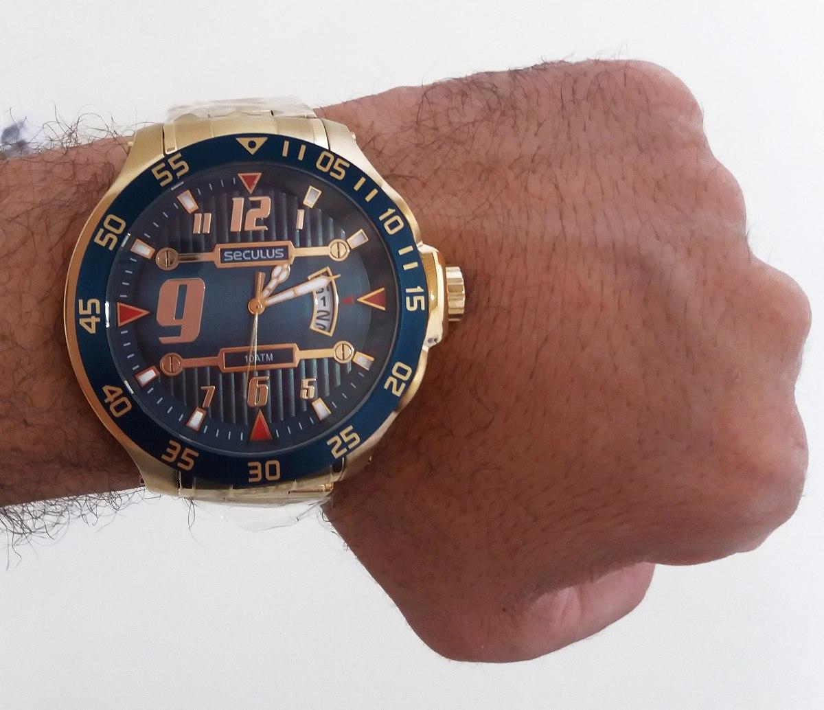 d3de704a1db Relógio Dourado Novo Na Caixa Presente De Natal Masculino - R  429 ...