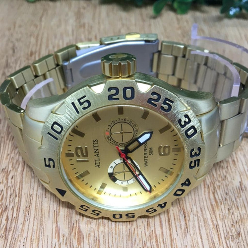 relógio dourado prata atlantis original barato masculino