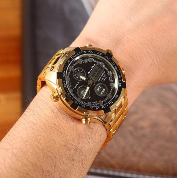 e296899cdb4 Relógio Dourado Prata Masculino Amuda Luxo - Modelo 2002 - R  159