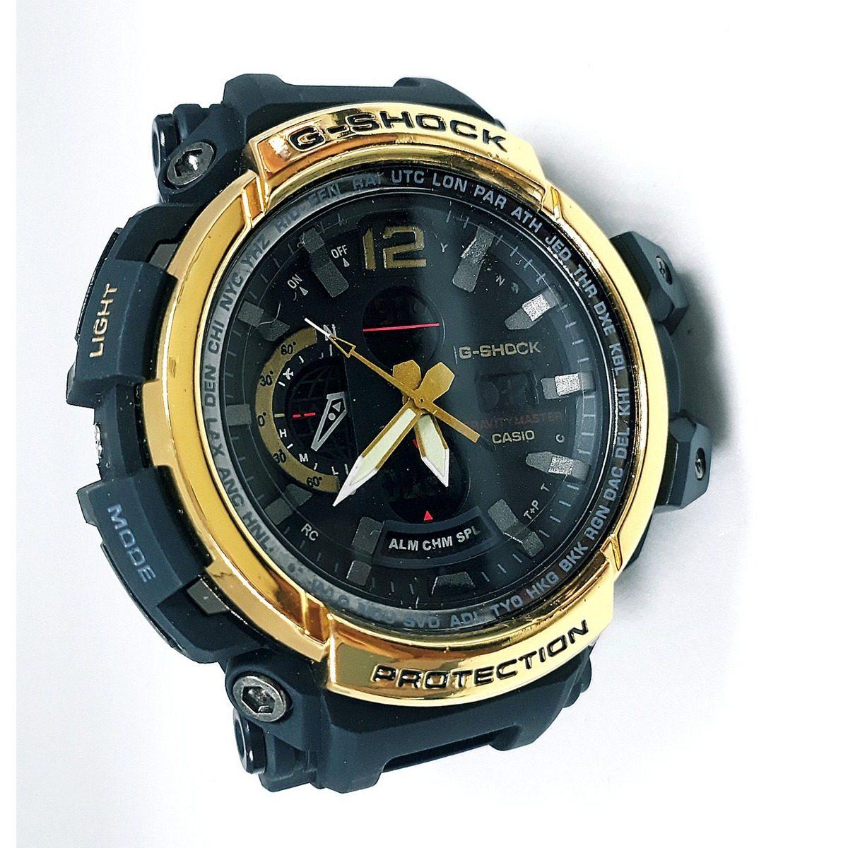 58b34465c4c relógio dourado+preto masculino - resistente a água top. Carregando zoom.