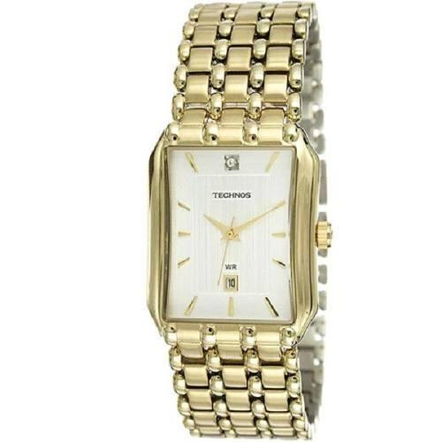 Relógio Dourado Quadrado Technos Esporte-fino 1n12ar 4k - R  379,00 ... a9509b261d