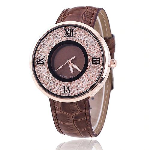 relógio dress watch marrom cristal importado pronta entrega