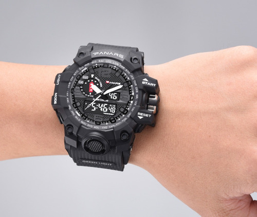 relógio dual time panars estilo militar 5atm