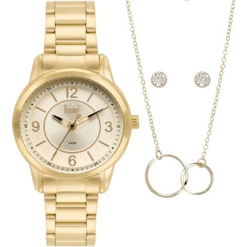 relógio dumont feminino dourado + colar e brinco