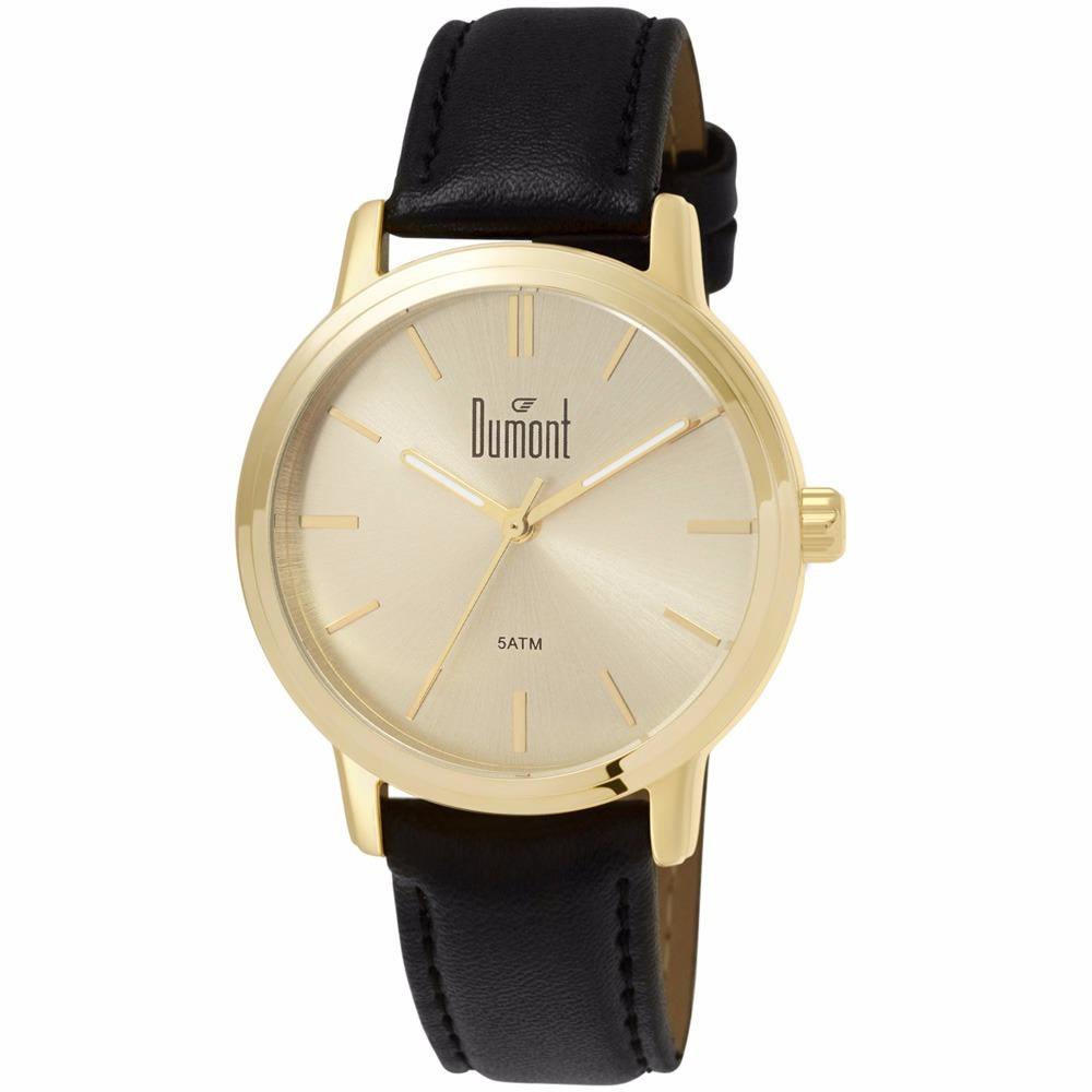 0d855f5fbce Relógio Dumont Feminino Dourado Couro - Du2035lsk k2d - Nfe - R  149 ...
