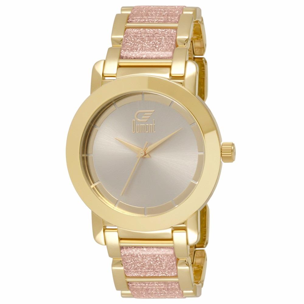 94618ad414888 Relógio Dumont Feminino Du2035lst 5q Analógico Dourado - R  315