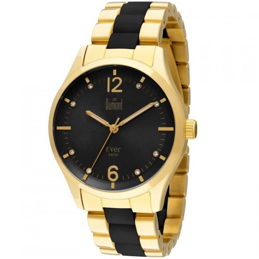 8c812f3dc9e relógio dumont feminino ever dourado e preto du2036lsg 4p. Carregando zoom.