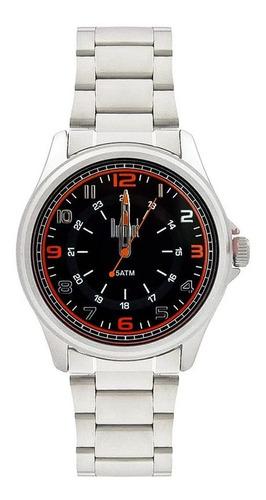 relógio dumont masculino analógico, caixa 4,4cm, prata, meta