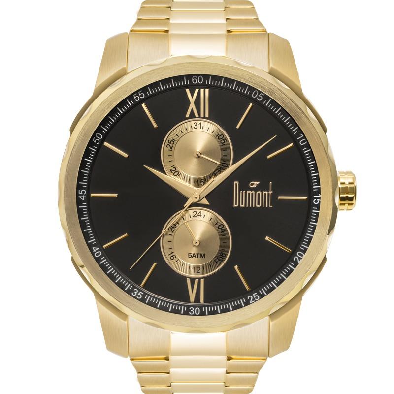 1d855930e32 relógio dumont masculino traveller dourado preto du6p23ab 4d. Carregando  zoom.