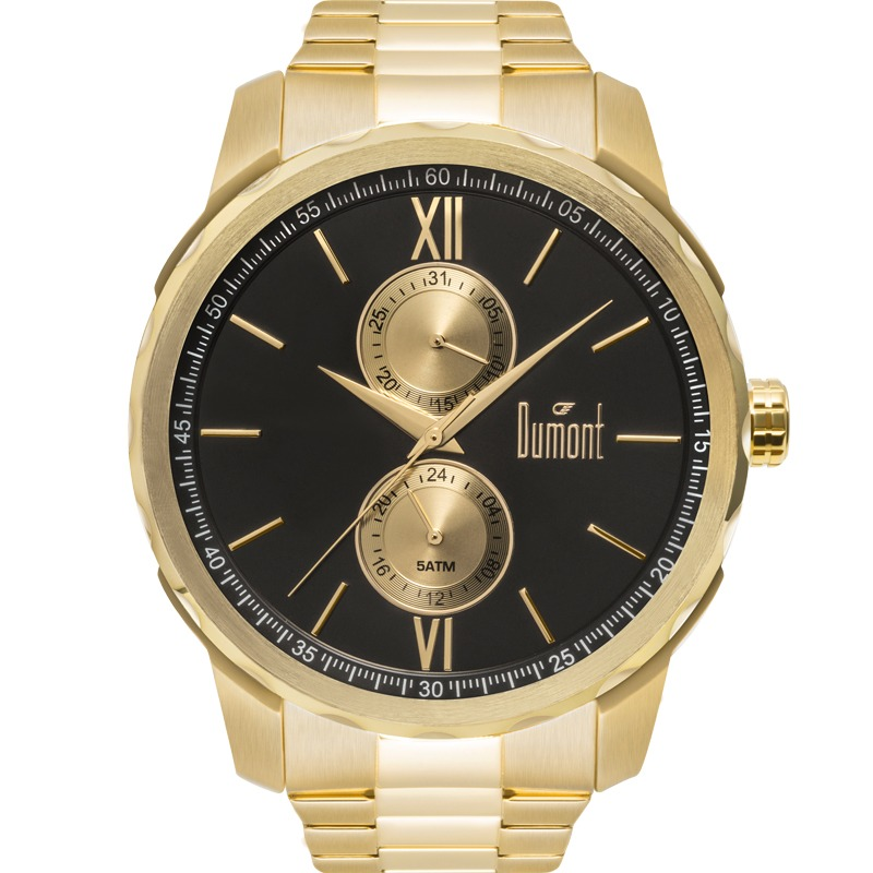 f162db47db626 Relógio Dumont Masculino Traveller Dourado Preto Du6p23ab 4d - R ...