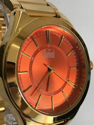 relogio dumont metal dourado du2035lsm/4l