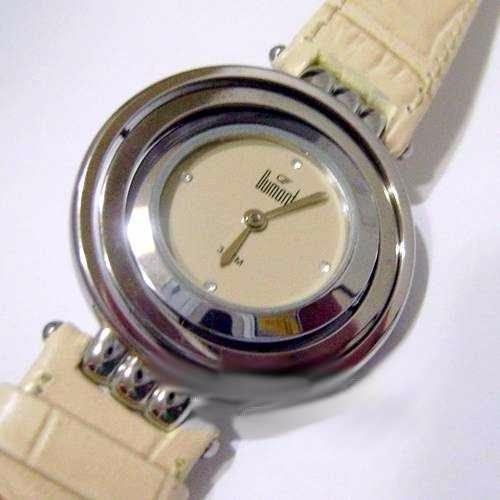 relógio dumont pulseira sw36374e couro bege e strass