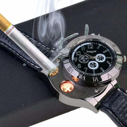 relogio e acendedor cigarro / isqueiro eletrônico preto