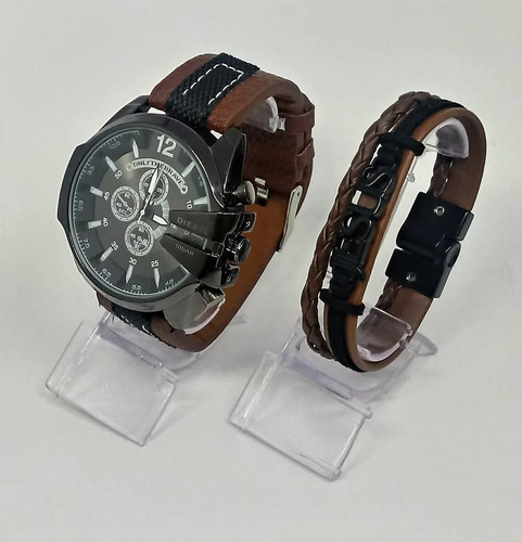 relogio e pulseira masculina