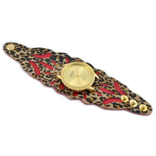 relógio ef bracelete feminino onça/vermelho