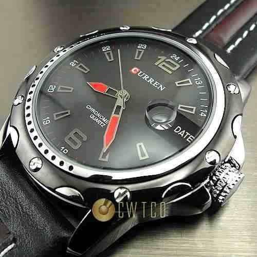 relógio elegante luxo curren pulseira em couro c/ datador