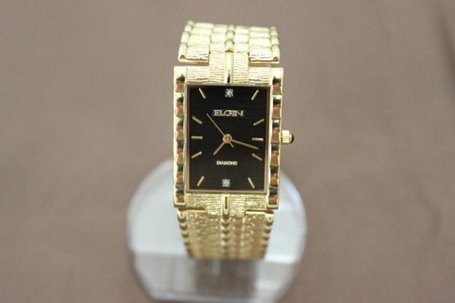 relógio elgin two diamond gold-plated, black dial watch