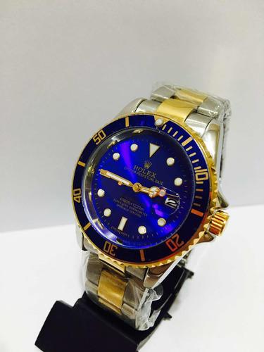 relógio em aço misto blue submariner com 2 baterias reservas