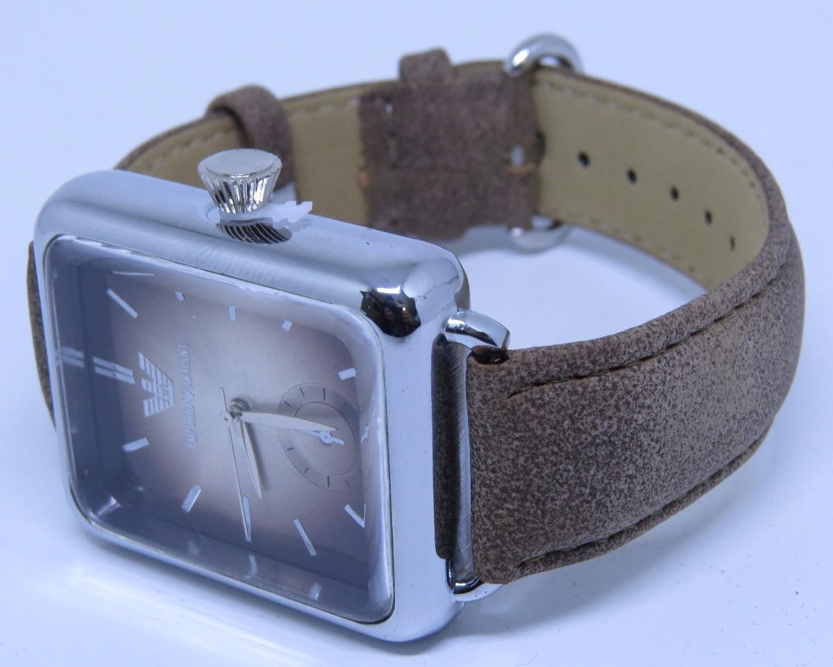 relógio empório arm quadrado couro unisex lindo + brinde led. Carregando  zoom. 5221ade4f8