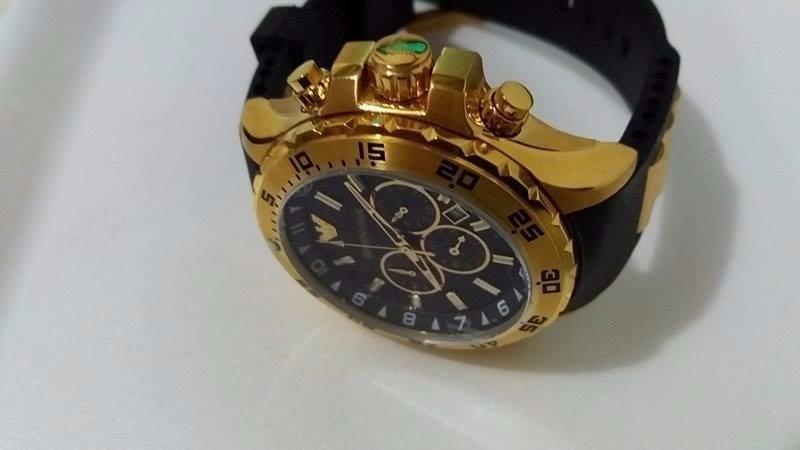 b08847bf989 relógio emporio armani 0690 dourado. Carregando zoom.