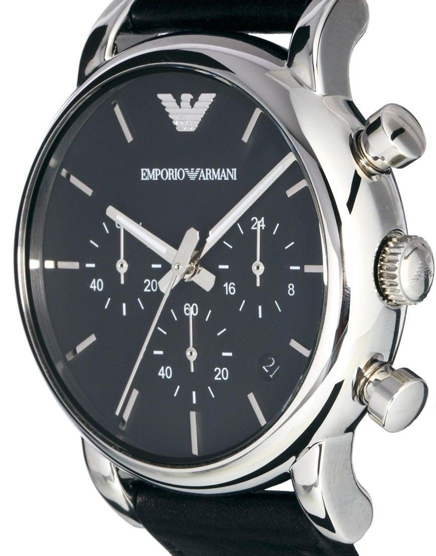 26edf9ec220 Relógio Emporio Armani Ar1733 Preto De Couro Frete Grátis. - R  373 ...