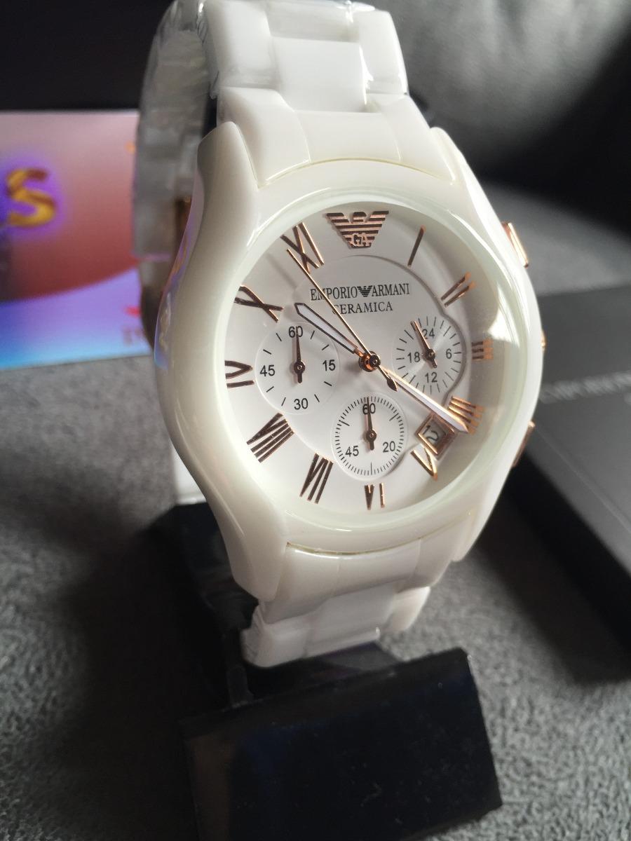 294a1b0f56c Relógio Emporio Armani Ar1416 Cerâmica Branco Original - R  479