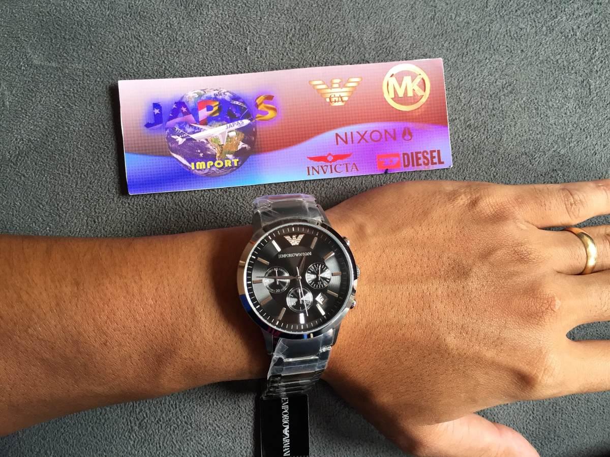 1a13d27ce52 relógio emporio armani ar2434 aço com preto pronta entrega. Carregando zoom...  relógio emporio armani. Carregando zoom.
