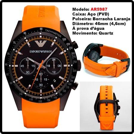 966d1ec5bb8a7 Relógio Emporio Armani Ar5987 Preto E Laranja Frete Grátis. - R  399 ...