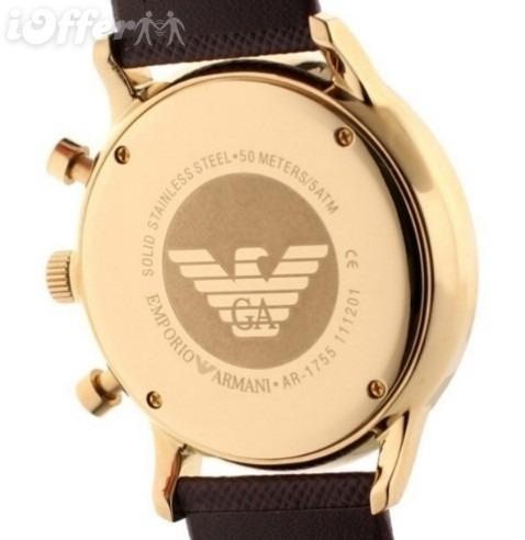 03181f8d5a3 Relógio Emporio Armani Ar1755 Pulseira Couro Marrom Na Caixa - R ...