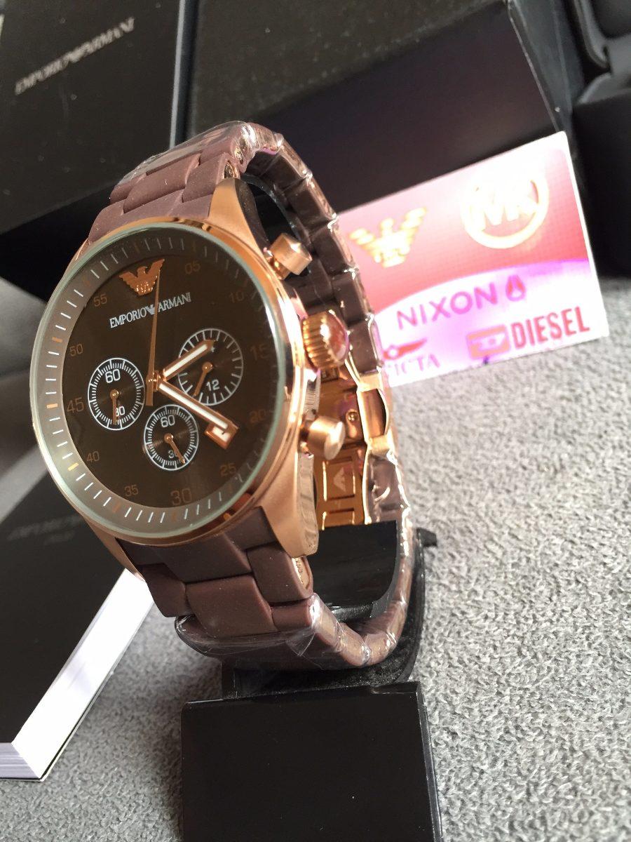 bf8e0b9dc45 Relógio Emporio Armani Ar5890 Marrom Com Rose Pronta Entrega - R ...