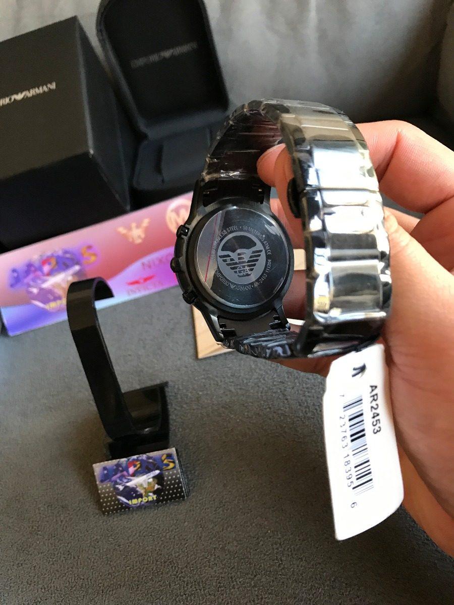 f292824f2df Relógio Emporio Armani Ar2453 Preto Original Completo Caixa - R  569 ...
