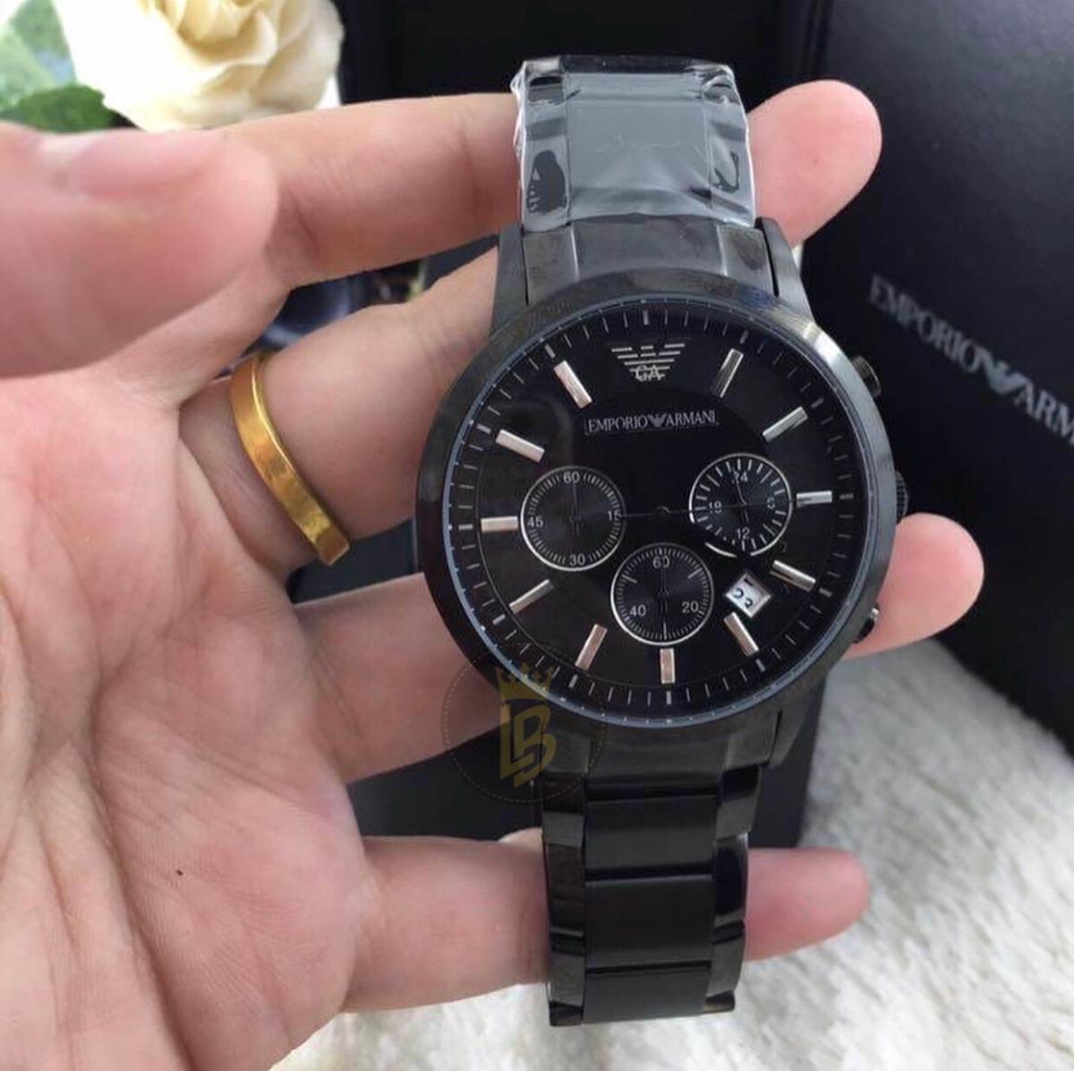 047bf89ea5d Relógio Empório Armani Ar2453 Preto Médio 43mm Completo - R  819