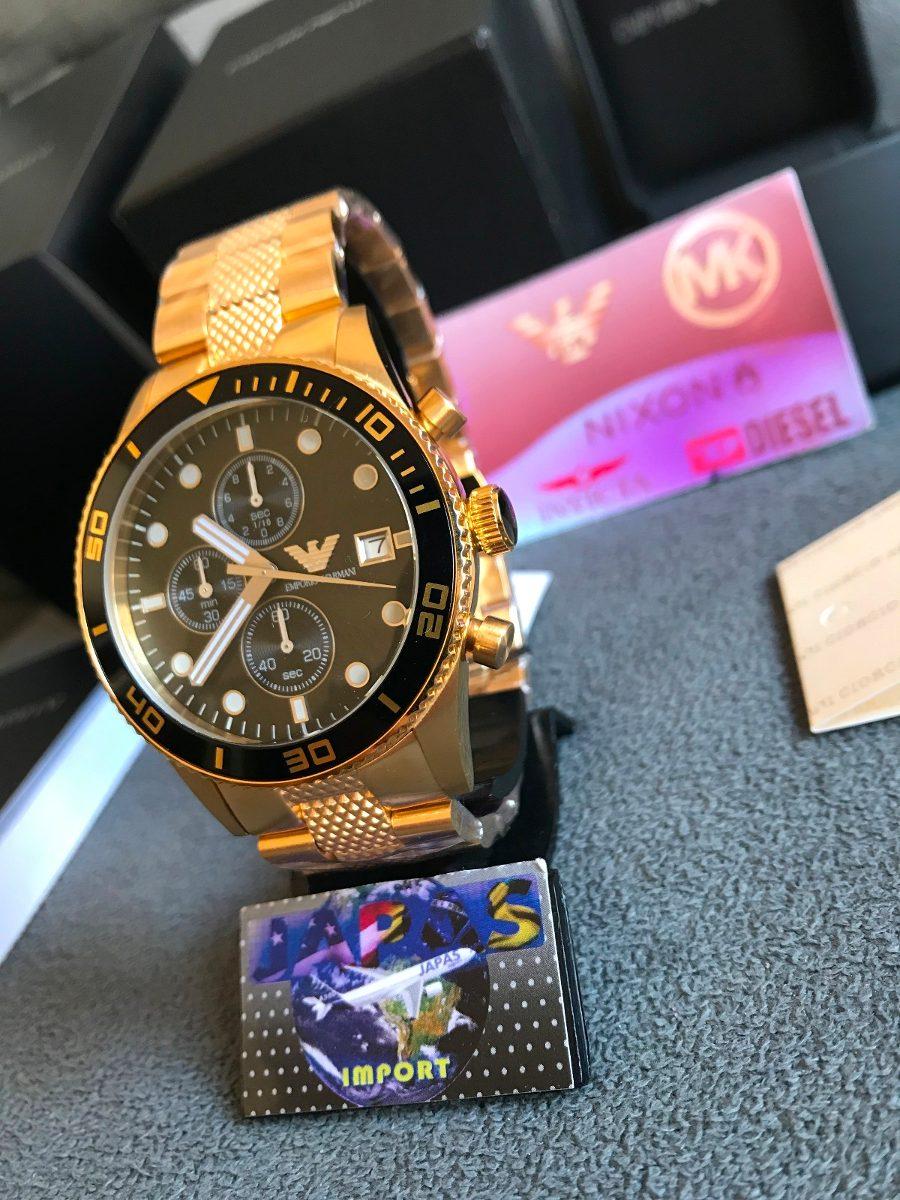 b10189c8527 Relógio Empório Armani Ar5857 Dourado 100% Original Completo - R ...