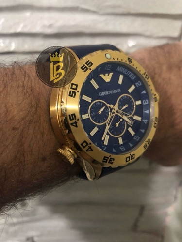 75dd0787592 Relógio Empório Armani Ar0690 Azul Original Com Garantia - R  846