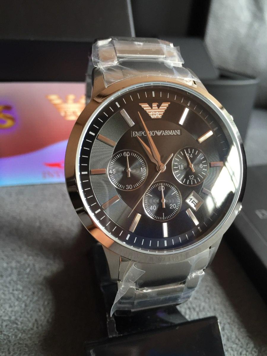 1ae0d9671f5 Relógio Emporio Armani Ar2434 Aço Com Preto Pronta Entrega - R  469 ...
