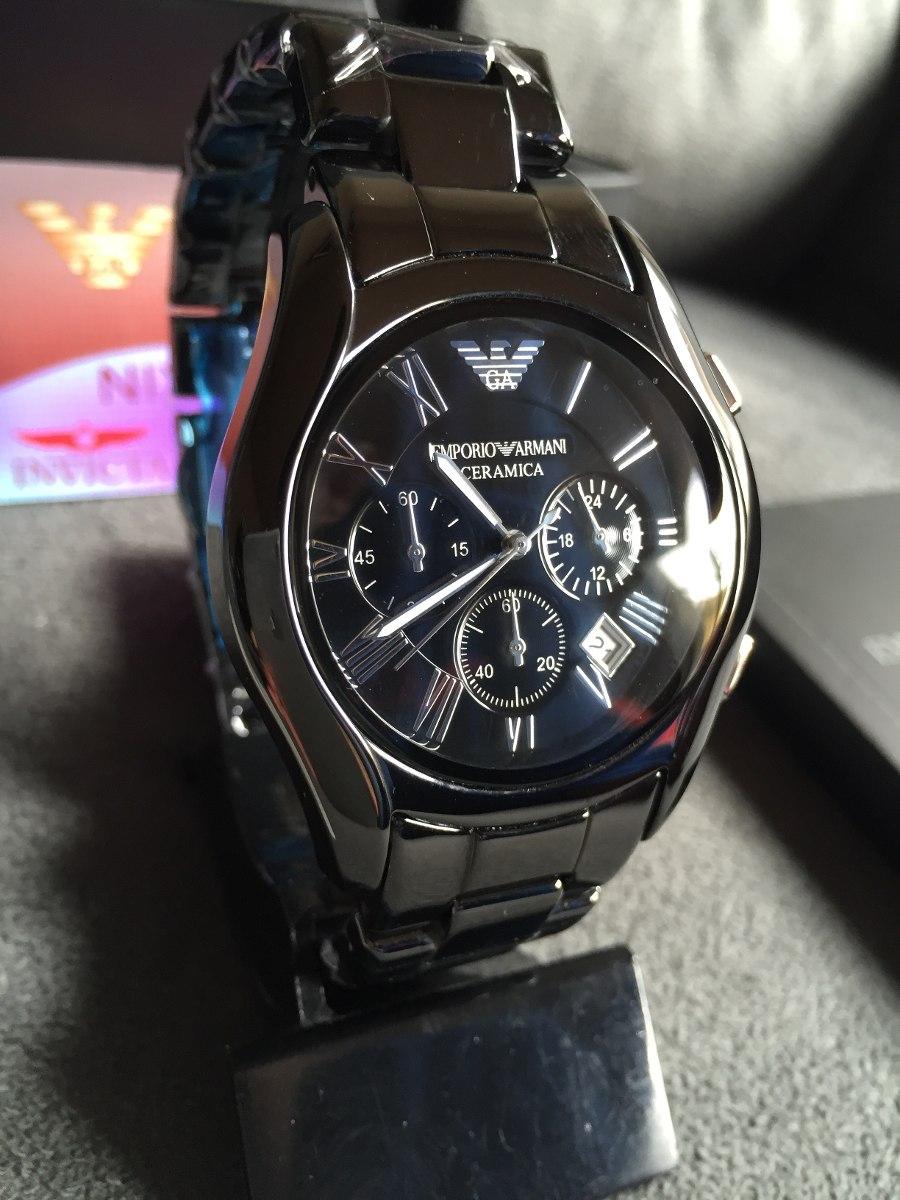 6610b2f3281 Relógio Emporio Armani Ar1400 Cerâmica Preto Original - R  569