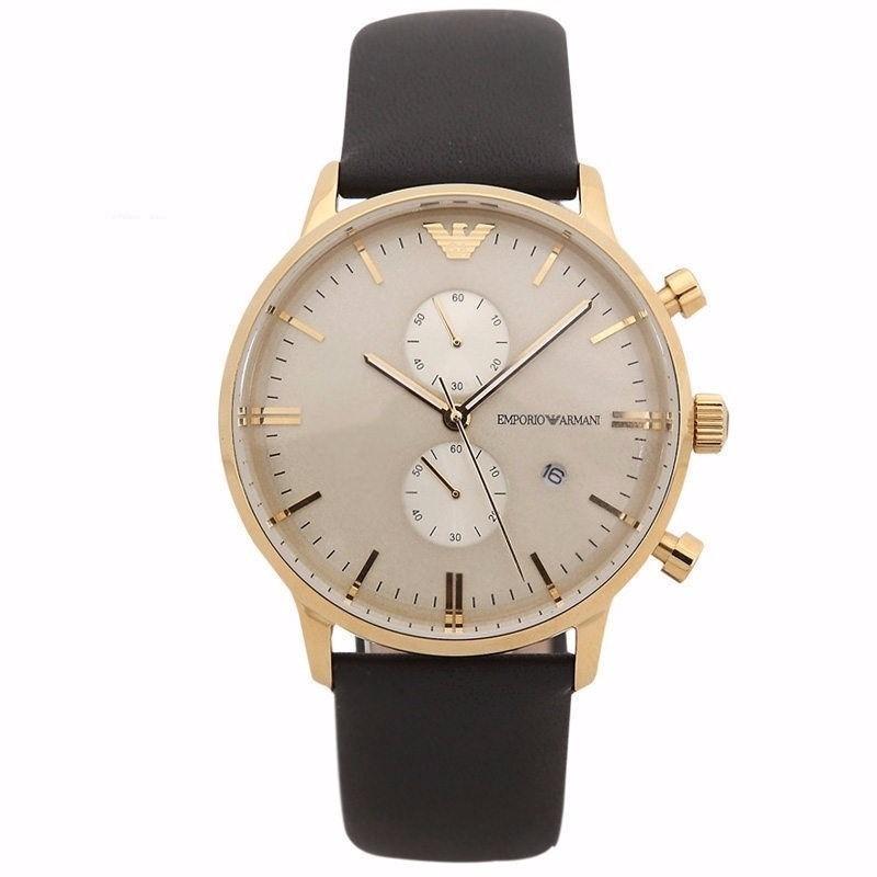18e3720e5c2 relógio emporio armani ar0386 masculino dourado couro preto. Carregando  zoom.