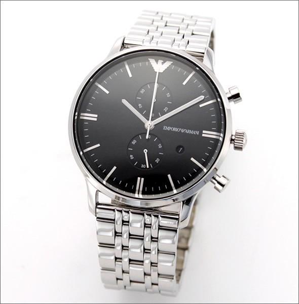 eaff6856f9b Relógio Emporio Armani Ar0389 Prata E Preto Completo - R  439