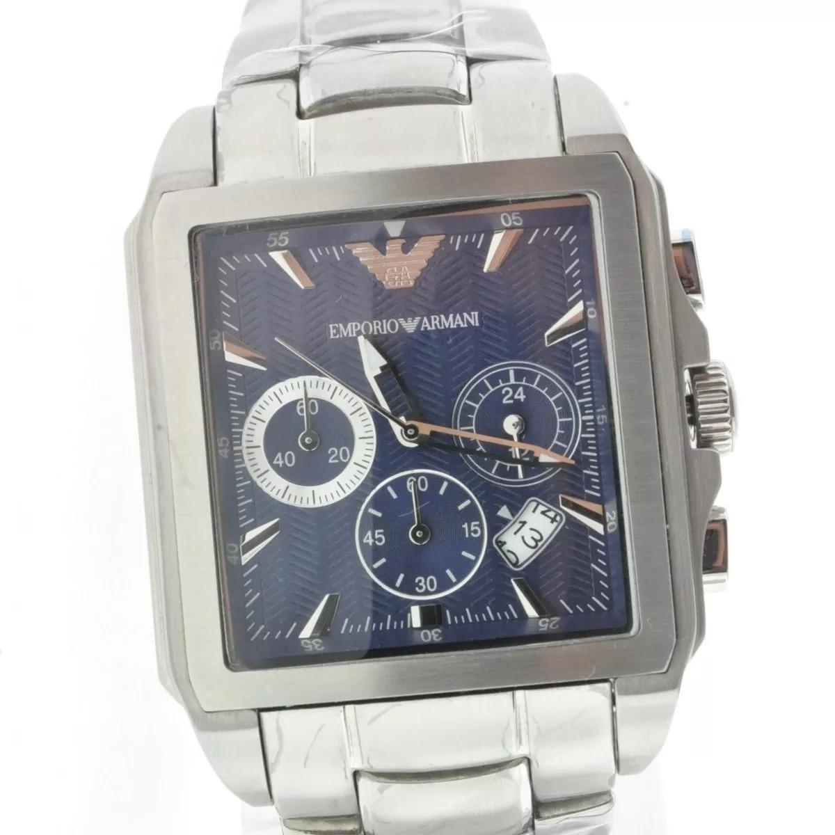 bcf8596ea35 relógio emporio armani ar0660 azul quadrado c844. Carregando zoom.