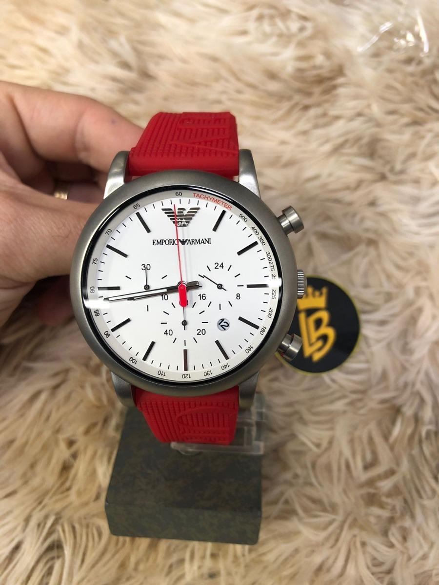 relógio emporio armani ar11021 vermelho, silicone original. Carregando zoom. e5e6a8b69f