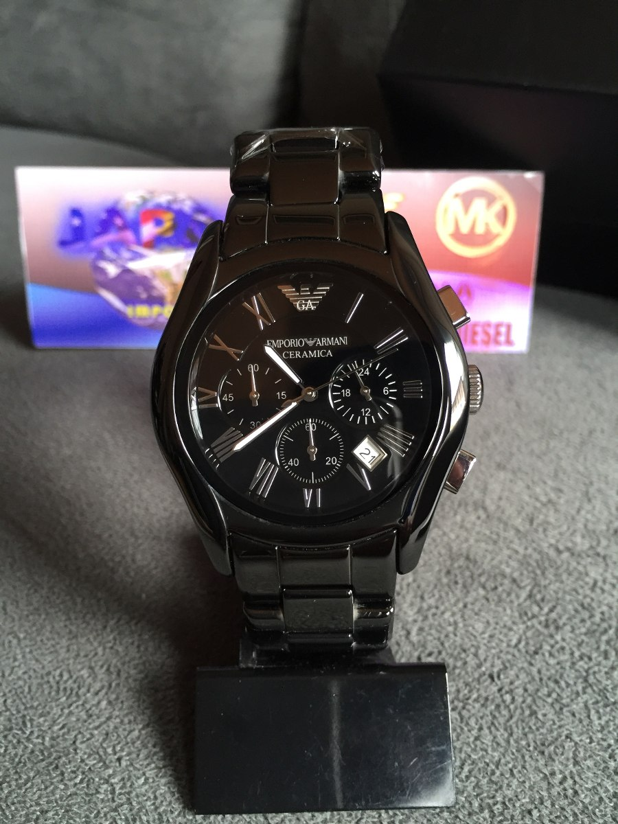 01bf37b4371 relógio emporio armani ar1400 cerâmica preto original. Carregando zoom.