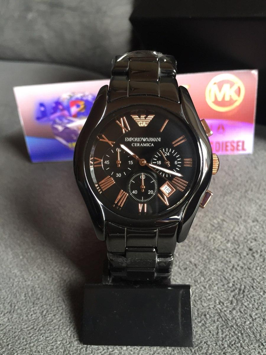 f2a8747c460 relógio emporio armani ar1410 cerâmica preto e rose original. Carregando  zoom.