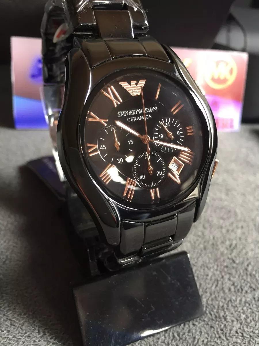 400459b96cf Relógio Emporio Armani Ar1410 Cerâmica Preto E Rose Original - R  499