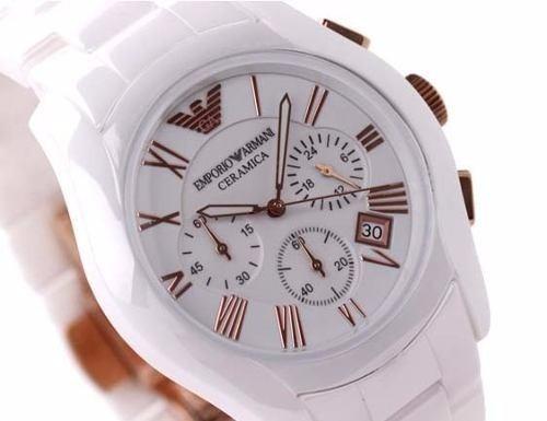 b6863bd404d Relógio Empório Armani Ar1416 Branco Cerâmica Com Rose - R  756