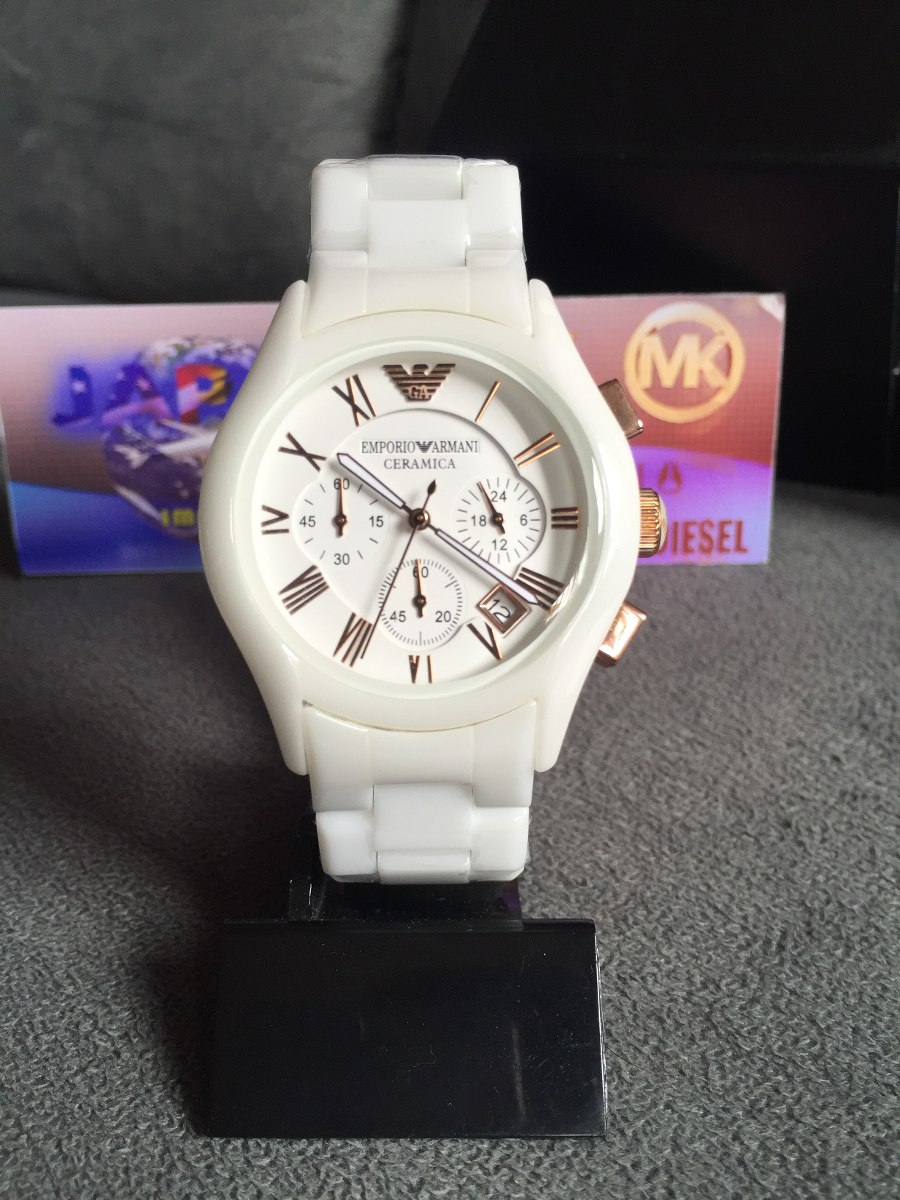 dbe03f362b1 Relógio Emporio Armani Ar1416 Cerâmica Branco Rose Original - R  569 ...