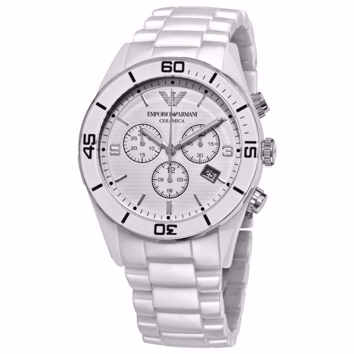 087cc644fc8 relógio empório armani ar1424 ceramica branco completo. Carregando zoom.