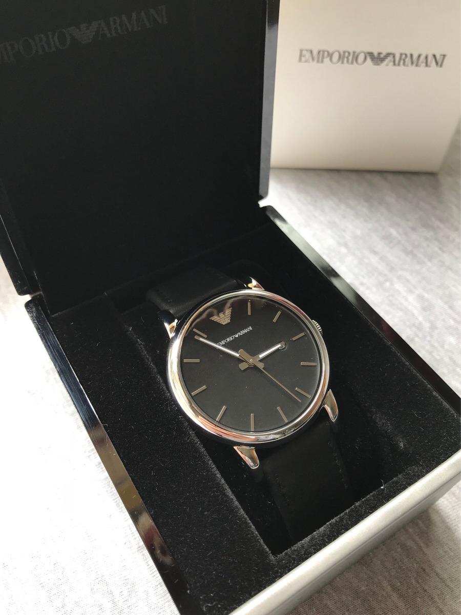 1ccf038f7b3 relógio empório armani ar1692 preto couro prata aço garantia. Carregando  zoom.